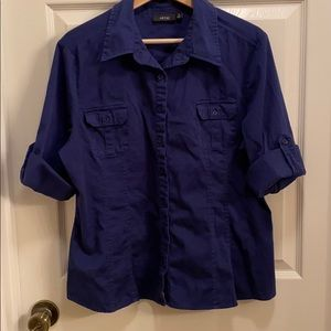 Apt. 9 Roll Tab Fitted Button-down in Navy sz XL